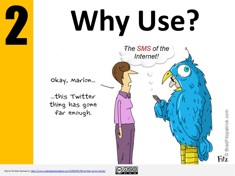 Why Use? More Twitter Cartoons: http://www.webdesignerdepot.com/2009/03/50-twitter-comic-strips/http://www.webdesignerdepot.com/2009/03/50-twitter-com