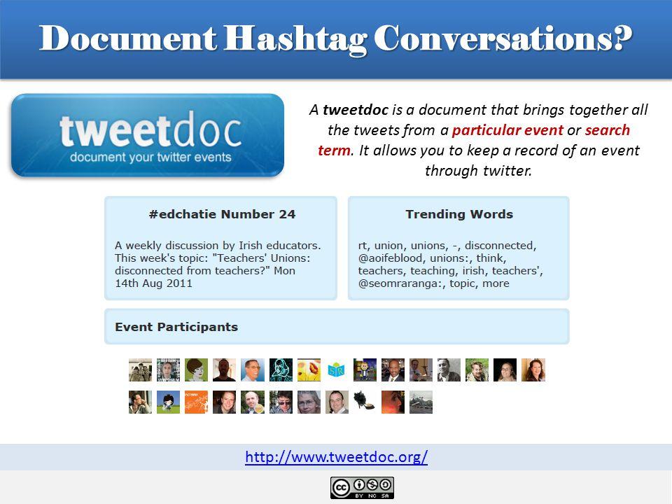 Document Hashtag Conversations.