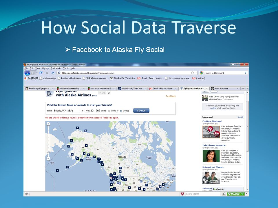How Social Data Traverse  Facebook to Alaska Fly Social