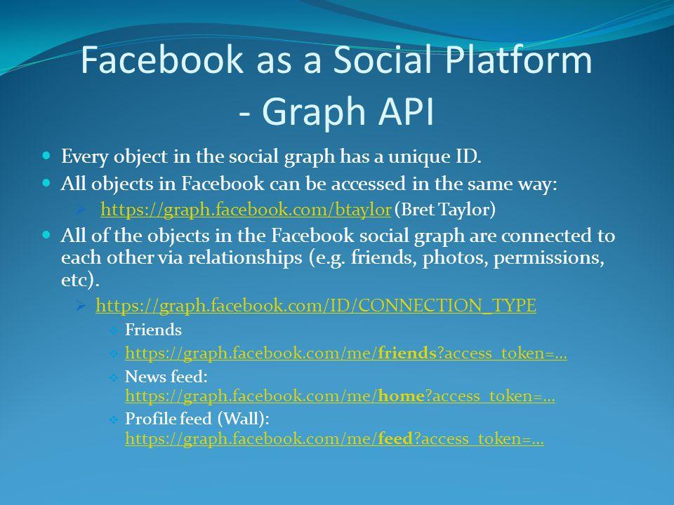 Core Concepts for Facebook Developers Graph API Authentication Facebook Connect Social Design Social Plugins  Social Channels Open Graph Protocol