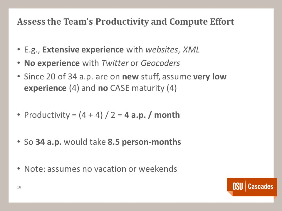 Assess the Team's Productivity and Compute Effort E.g., Extensive experience with websites, XML No experience with Twitter or Geocoders Since 20 of 34 a.p.