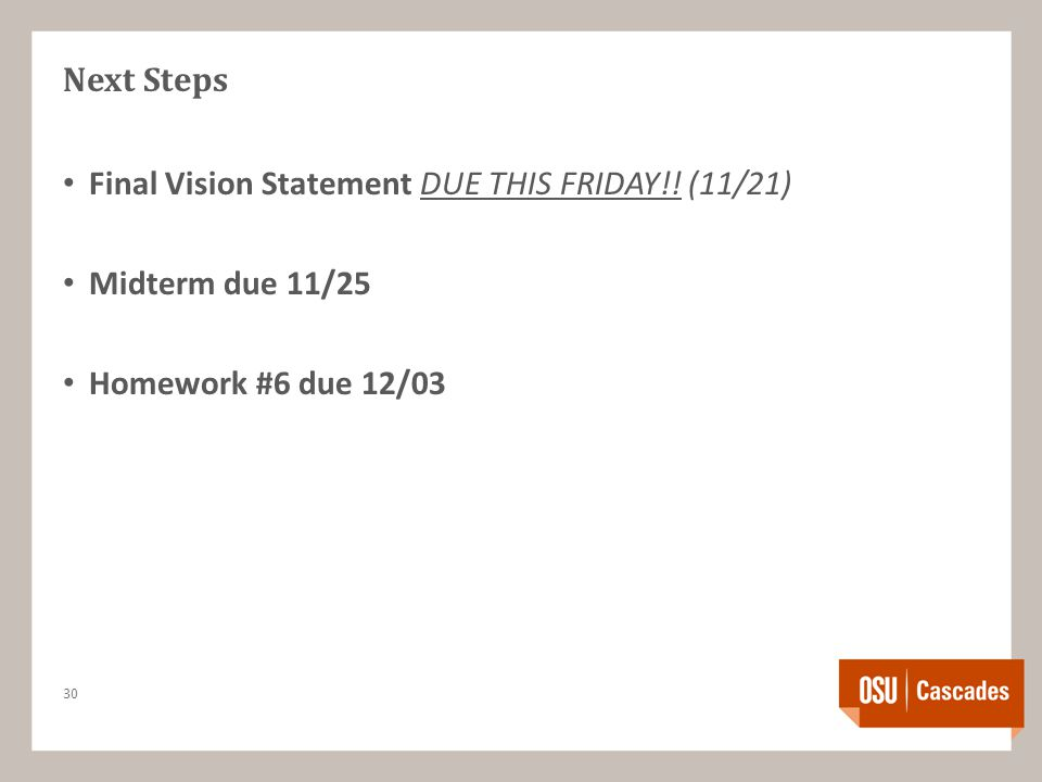 Next Steps Final Vision Statement DUE THIS FRIDAY!.