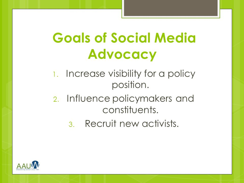 Ways to Use Facebook for Advocacy  Spread information about your issue or cause.
