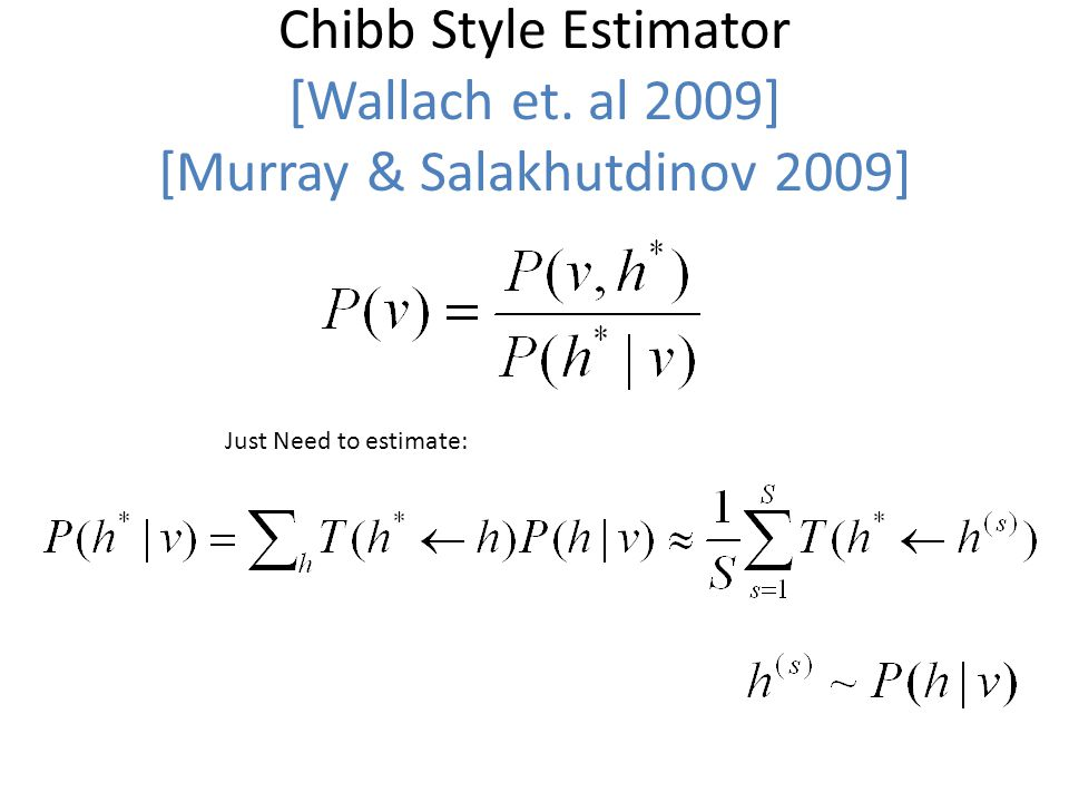 Chibb Style Estimator [Wallach et. al 2009] [Murray & Salakhutdinov 2009] Just Need to estimate: