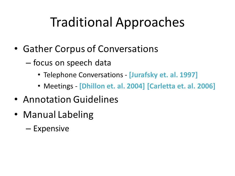 Dialogue Acts for Internet Conversations Lots of Variety – Email [Cohen et.