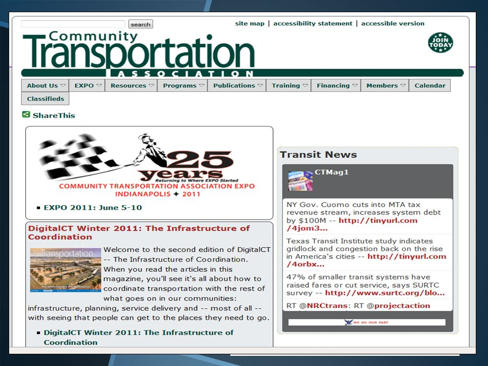 Getting the Feed on CTAA.org  Using Twitter s open source code, we created feed widgets run by javascript to pull a user s profile tweets and display them via XHTML/CSS on our Web pages.