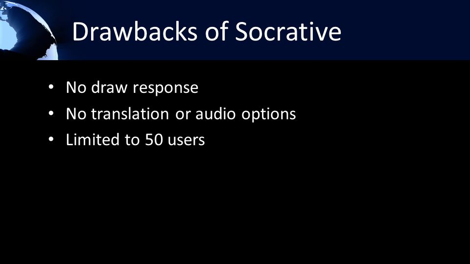 Drawbacks of Socrative No draw response No translation or audio options Limited to 50 users