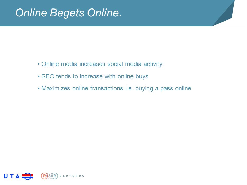 Online Begets Online. Online media increases social media activity SEO tends to increase with online buys Maximizes online transactions i.e. buying a