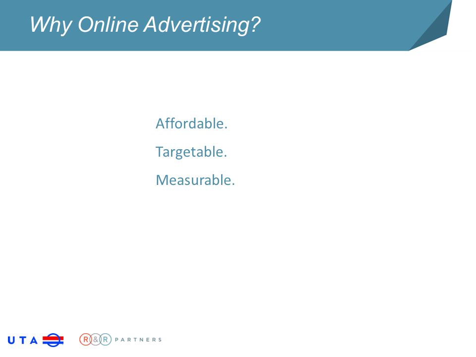Why Online Advertising? Affordable. Targetable. Measurable.
