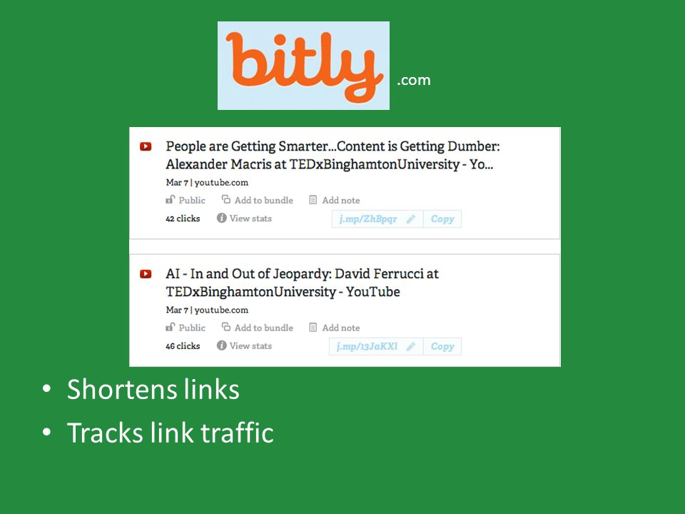 Shortens links Tracks link traffic.com