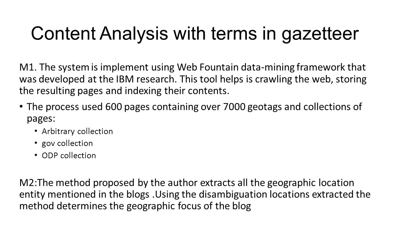Content Analysis with terms in gazetteer M1.