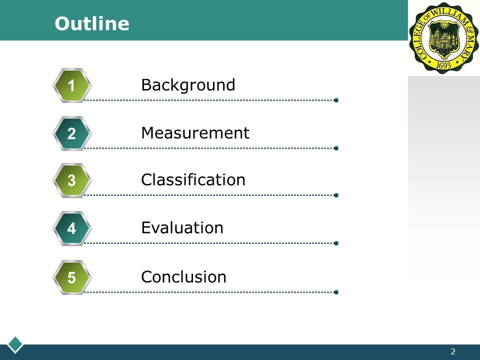 LOGO Outline 3 Background 1 Measurement 2 Classification 3 Evaluation 4 Conclusion 5