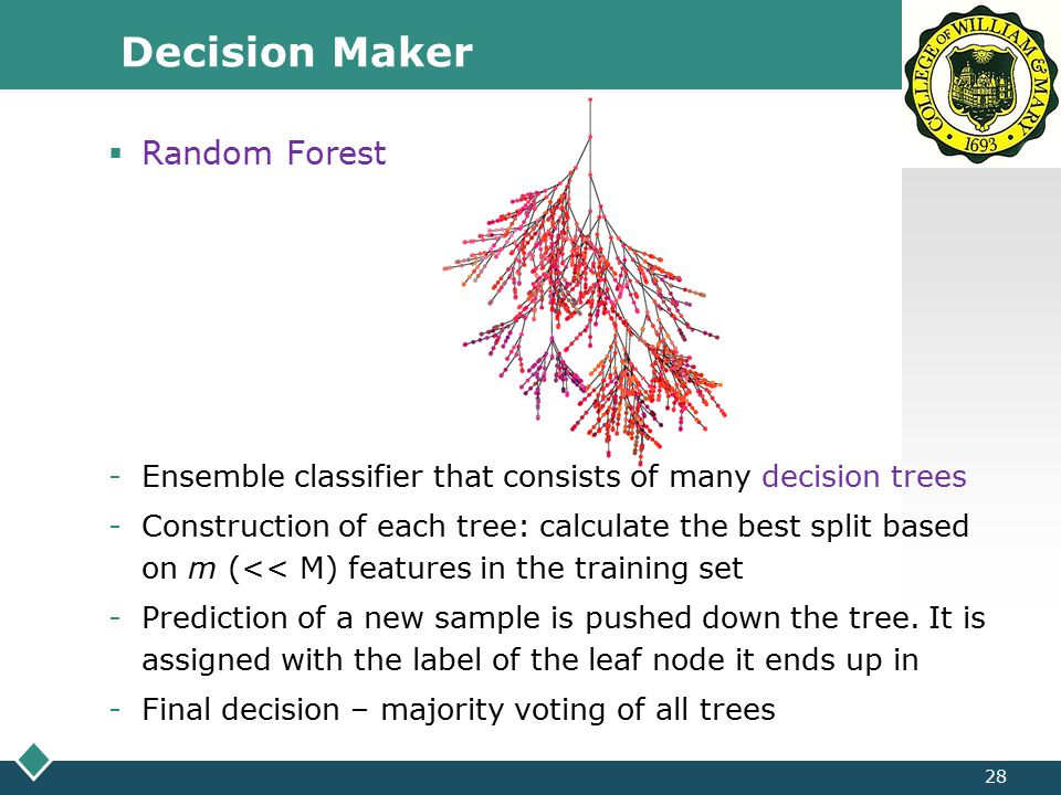 LOGO Decision Maker 28  Random Forest -Ensemble classifier that consists of many decision trees -Construction of each tree: calculate the best split based on m (<< M) features in the training set -Prediction of a new sample is pushed down the tree.