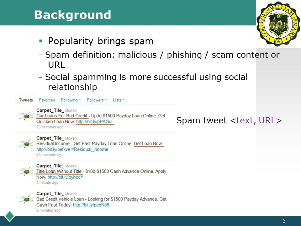 LOGO Background 6  Spam campaign - Spammer runs multiple accounts to spread spam tweets for a specific purpose (i.e.