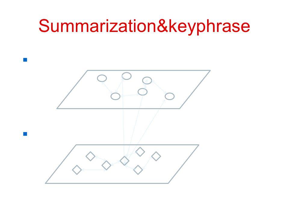 Summarization&keyphrase  句子 - 句子关系图  词 - 词关系图