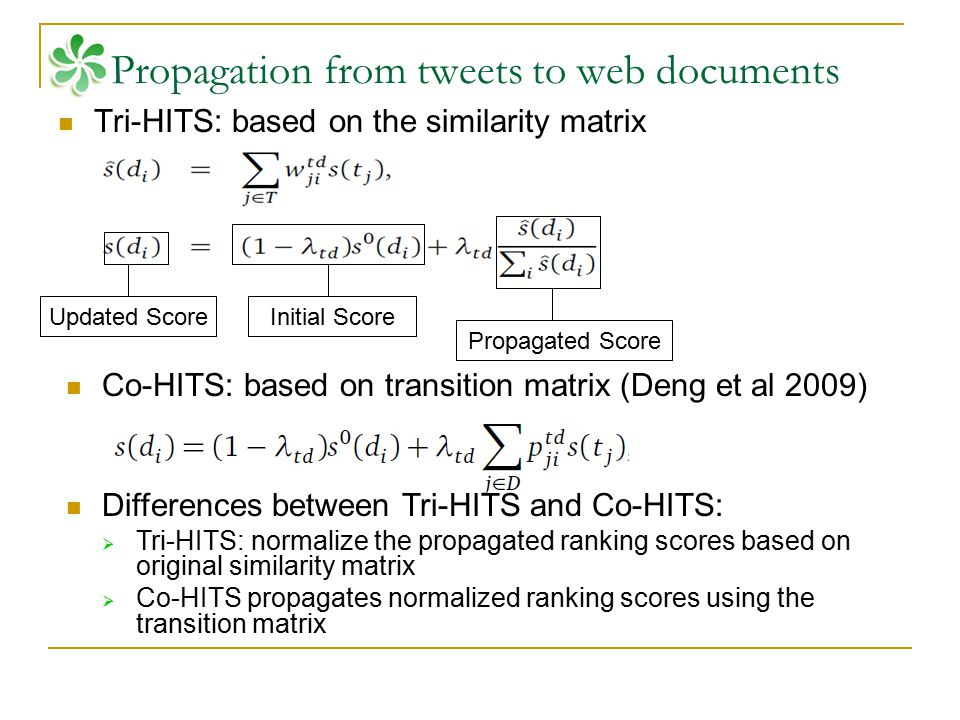 Propagated Score Initial ScoreUpdated Score Propagation from tweets to web documents Tri-HITS: based on the similarity matrix Co-HITS: based on transi