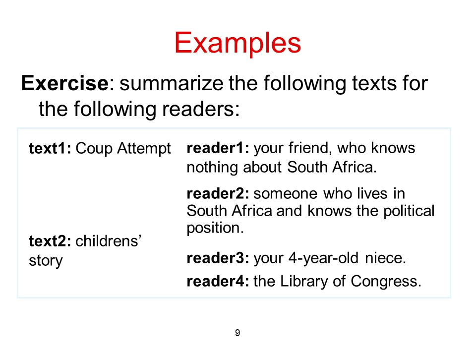 9 Examples Exercise: summarize the following texts for the following readers: text1: Coup Attempt text2: childrens' story reader1: your friend, who kn