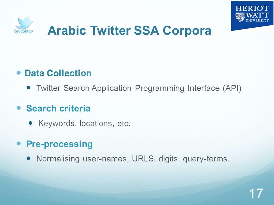 Arabic Twitter SSA Corpora 17