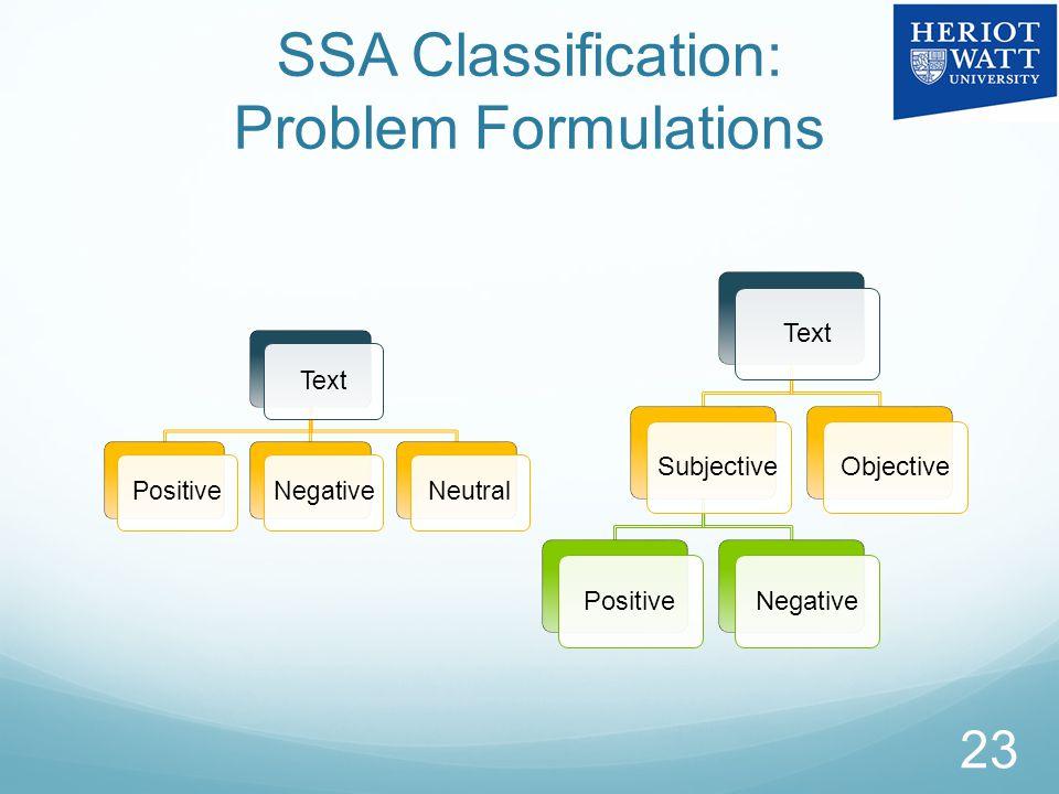 SSA Classification: Problem Formulations 23 TextSubjectivePositiveNegativeObjective TextPositiveNegativeNeutral