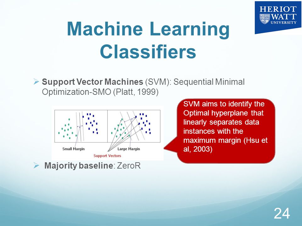 Machine Learning Classifiers  Support Vector Machines (SVM): Sequential Minimal Optimization-SMO (Platt, 1999)  Majority baseline: ZeroR 24 SVM aims to identify the Optimal hyperplane that linearly separates data instances with the maximum margin (Hsu et al, 2003)