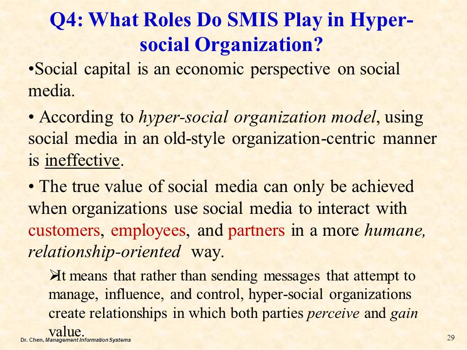 Dr.Chen, Management Information Systems Q4: What Roles Do SMIS Play in Hyper- social Organization.