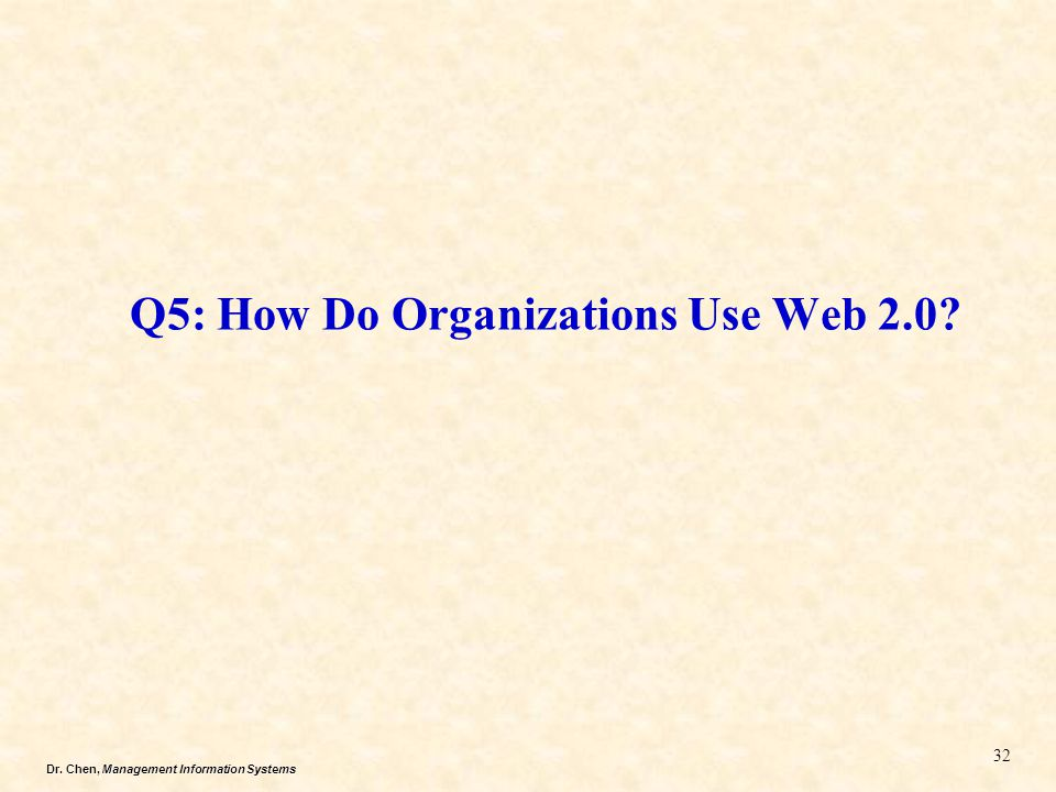 Dr. Chen, Management Information Systems Q5: How Do Organizations Use Web 2.0? 32