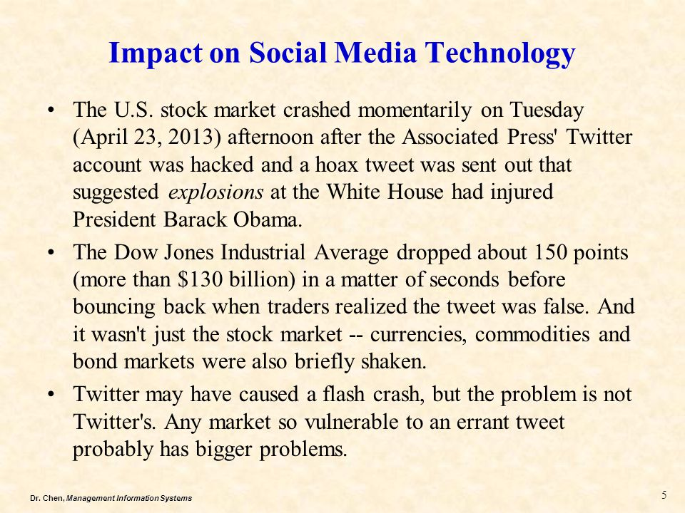 Dr. Chen, Management Information Systems Impact on Social Media Technology The U.S. stock market crashed momentarily on Tuesday (April 23, 2013) after