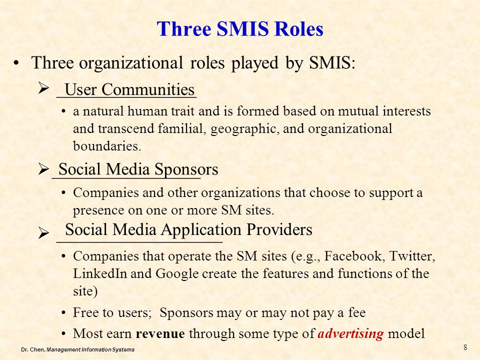 Dr. Chen, Management Information Systems Three SMIS Roles Three organizational roles played by SMIS:  ________________ a natural human trait and is f