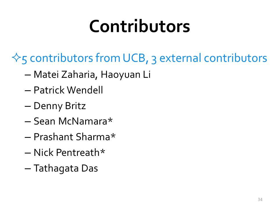 Contributors  5 contributors from UCB, 3 external contributors – Matei Zaharia, Haoyuan Li – Patrick Wendell – Denny Britz – Sean McNamara* – Prashant Sharma* – Nick Pentreath* – Tathagata Das 34