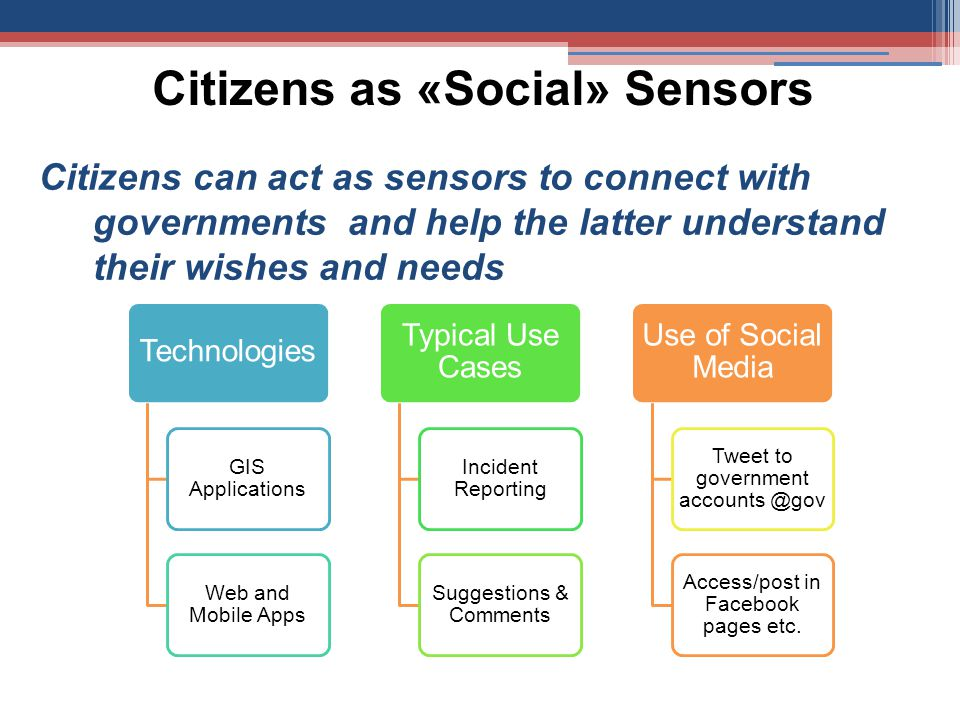 Citizens as «Social» Sensors Citizens can act as sensors to connect with governments and help the latter understand their wishes and needs Technologies GIS Applications Web and Mobile Apps Typical Use Cases Incident Reporting Suggestions & Comments Use of Social Media Tweet to government accounts @gov Access/post in Facebook pages etc.