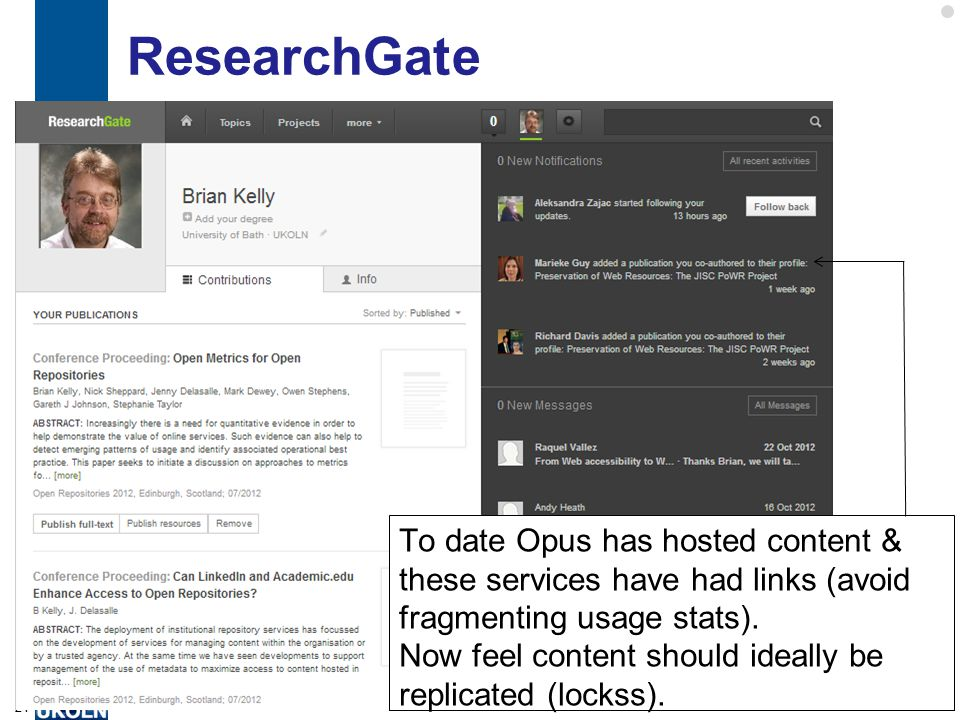 ResearchGate 24 To date Opus has hosted content & these services have had links (avoid fragmenting usage stats).