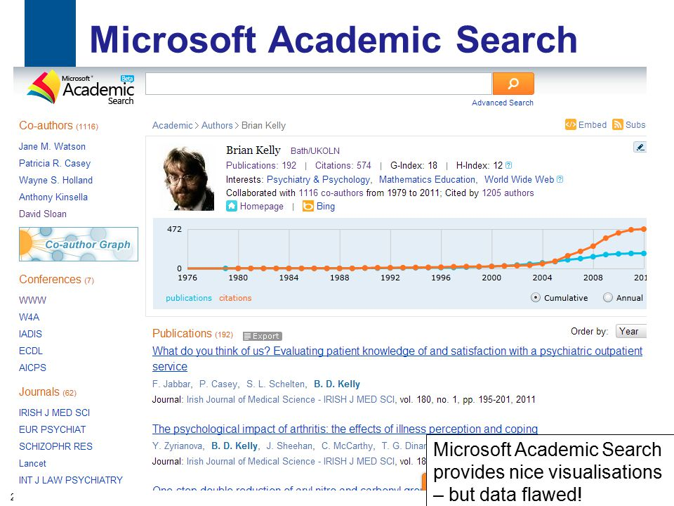 Microsoft Academic Search 29 Microsoft Academic Search provides nice visualisations – but data flawed!