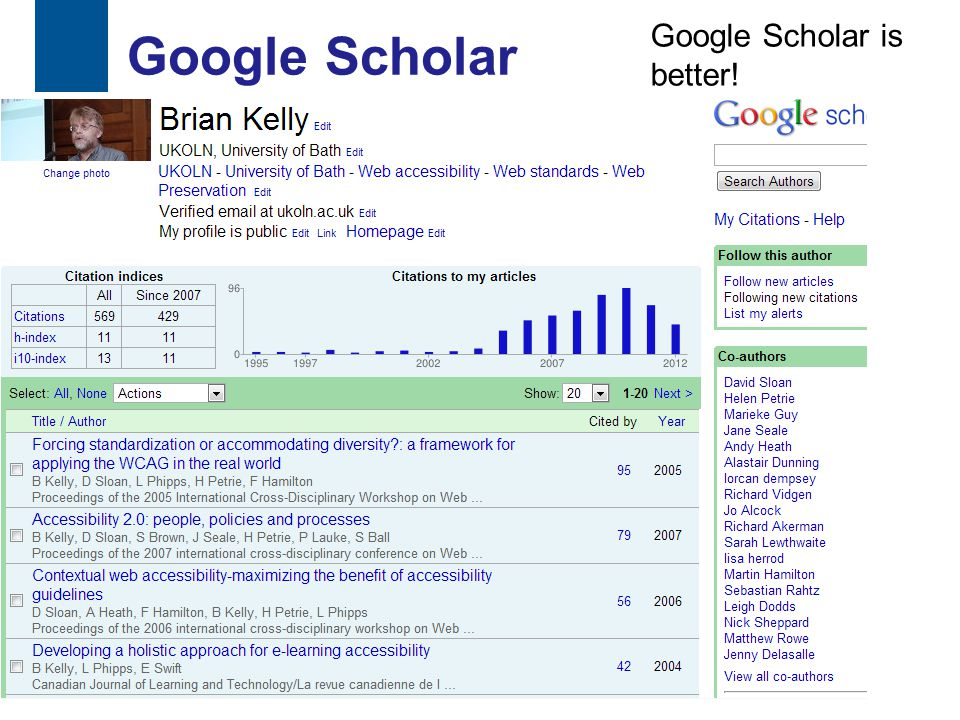 Google Scholar 33 Google Scholar is better!