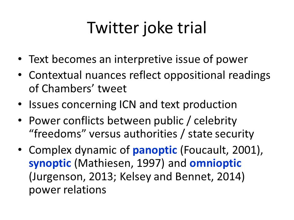 Twitter joke trial Text becomes an interpretive issue of power Contextual nuances reflect oppositional readings of Chambers' tweet Issues concerning I