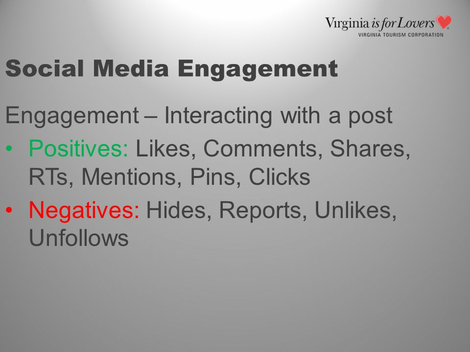 Social Media Engagement Engagement – Interacting with a post Positives: Likes, Comments, Shares, RTs, Mentions, Pins, Clicks Negatives: Hides, Reports, Unlikes, Unfollows