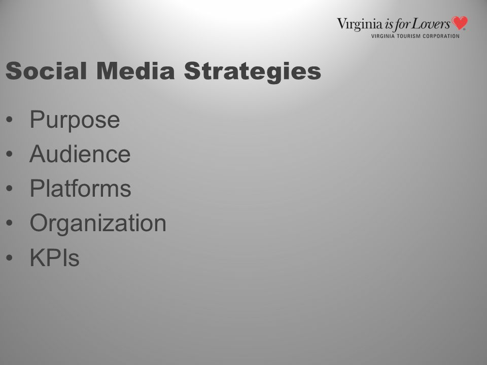 Social Media Strategies Purpose Audience Platforms Organization KPIs