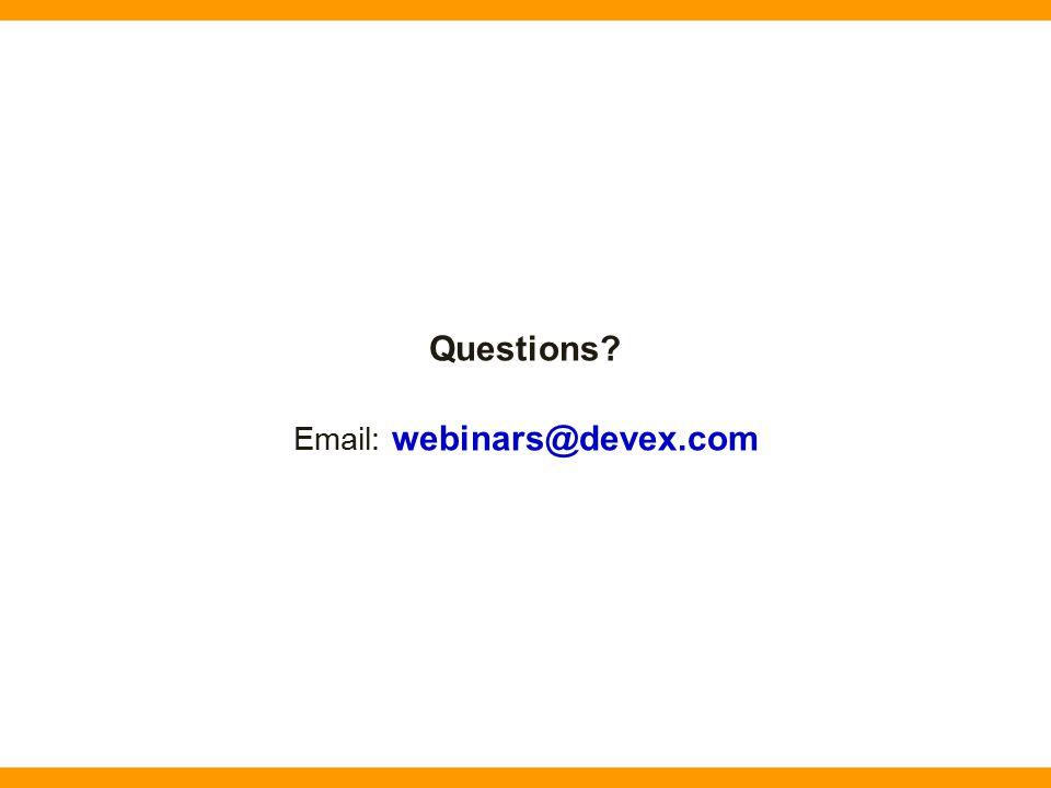 Questions? Email: webinars@devex.com