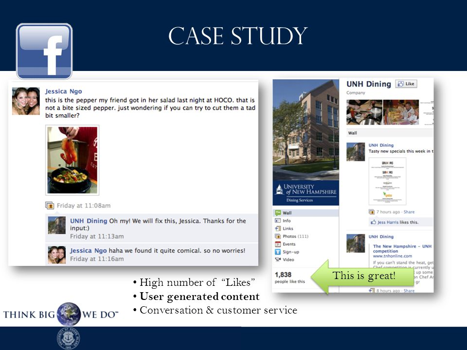 High number of Likes User generated content Conversation & customer service This is great.