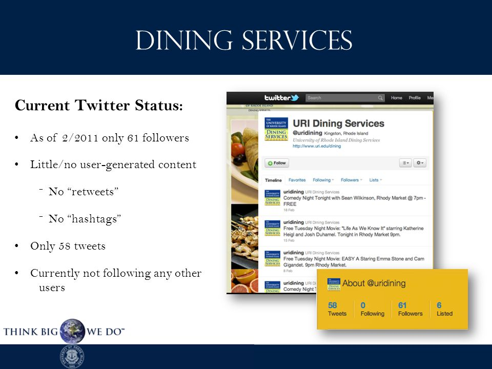 As of 2/2011 only 61 followers Little/no user-generated content ˉNo retweets ˉNo hashtags Only 58 tweets Currently not following any other users Current Twitter Status: Dining Services