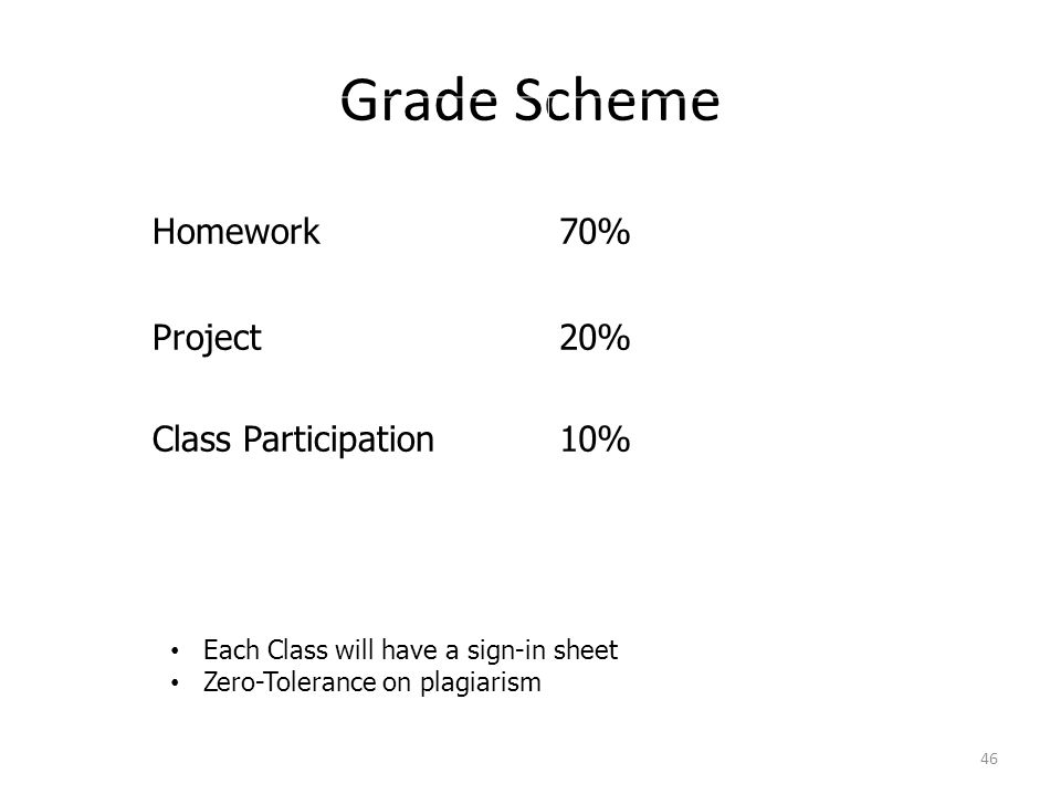 Grade Scheme 46 Homework70% Project Class Participation 20% 10% Each Class will have a sign-in sheet Zero-Tolerance on plagiarism