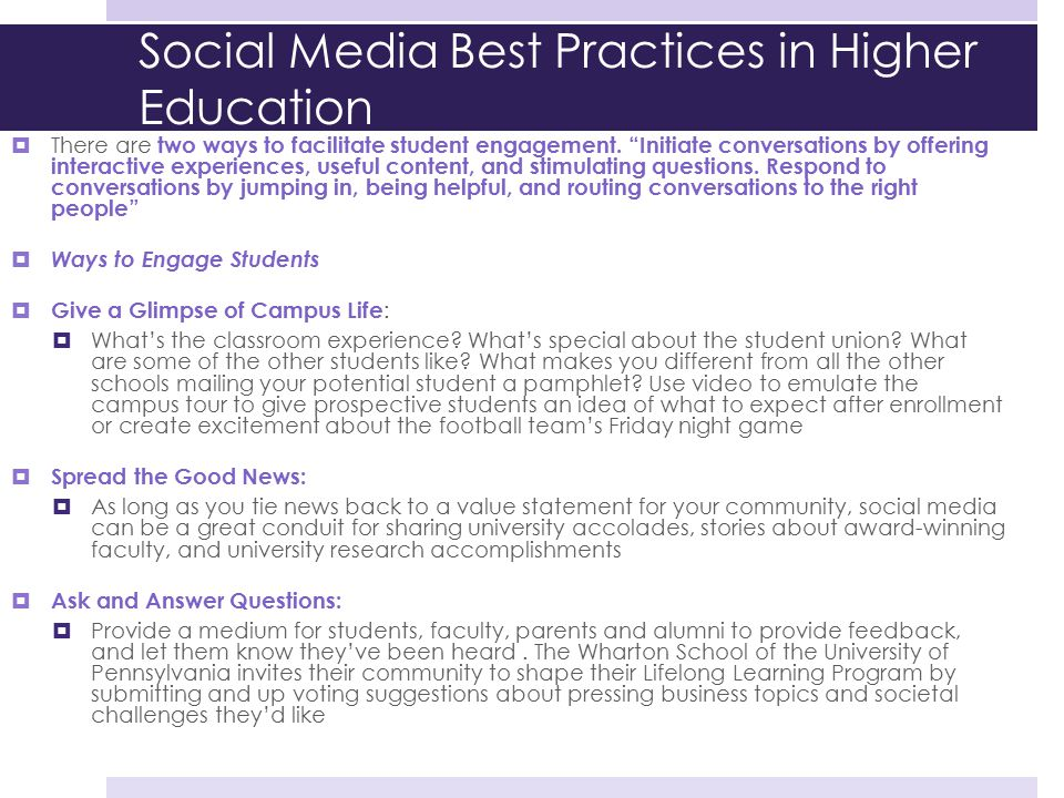 """Social Media Best Practices in Higher Education  There are two ways to facilitate student engagement. """"Initiate conversations by offering interactive"""