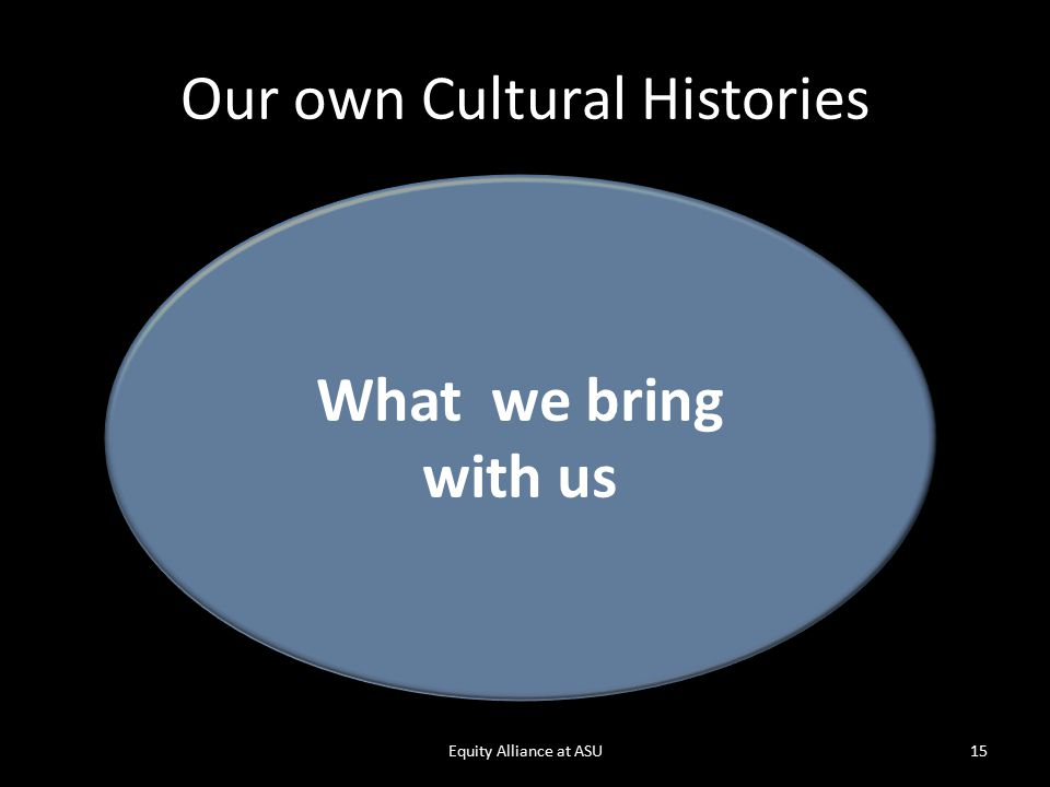 Our own Cultural Histories Equity Alliance at ASU15 What we bring with us