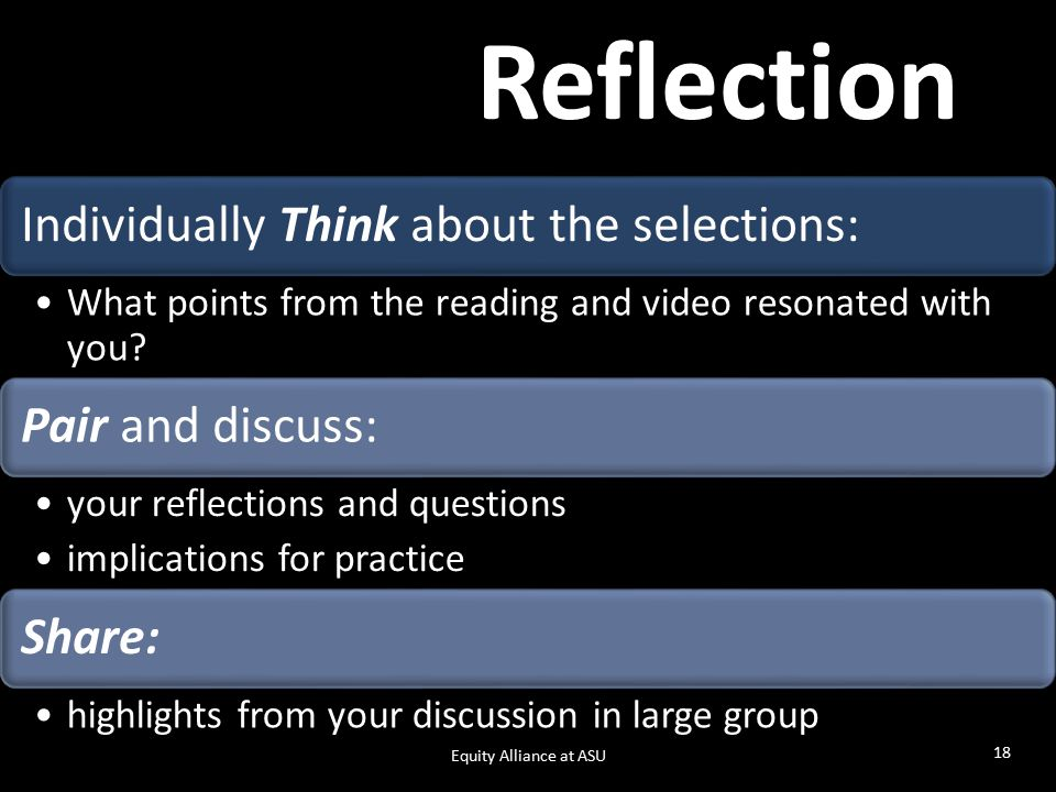 Reflection Individually Think about the selections: What points from the reading and video resonated with you.