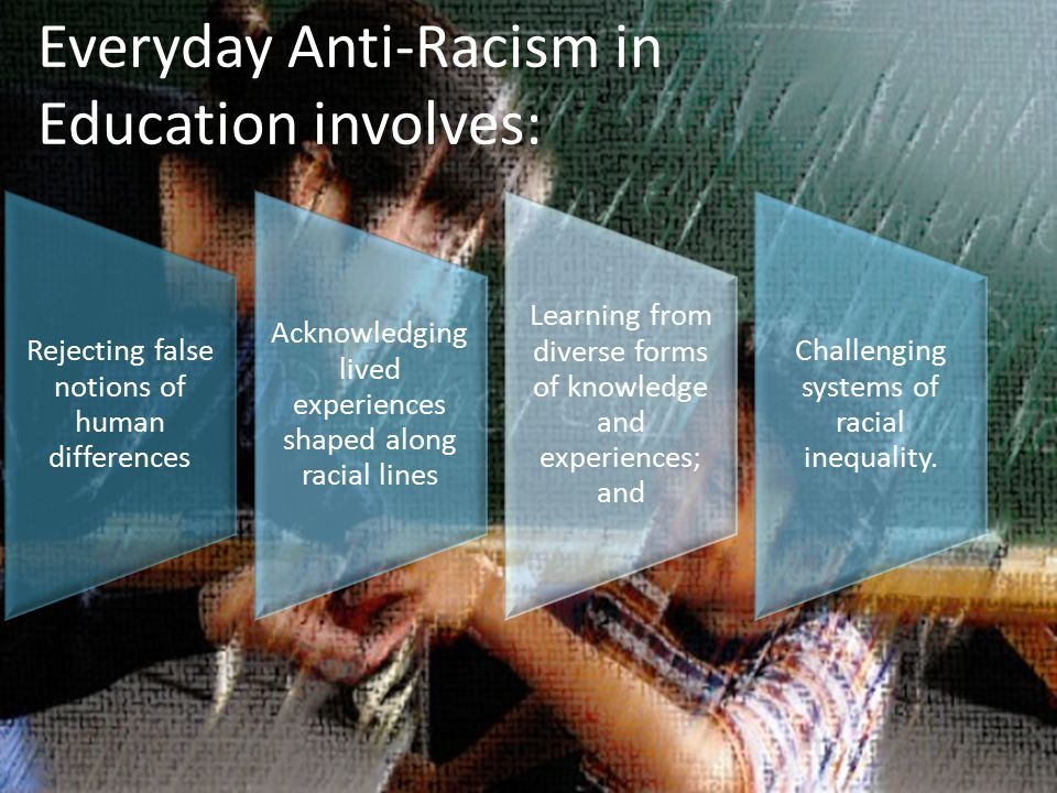 Everyday Anti-Racism in Education involves: Rejecting false notions of human differences Acknowledging lived experiences shaped along racial lines Learning from diverse forms of knowledge and experiences; and Challenging systems of racial inequality.