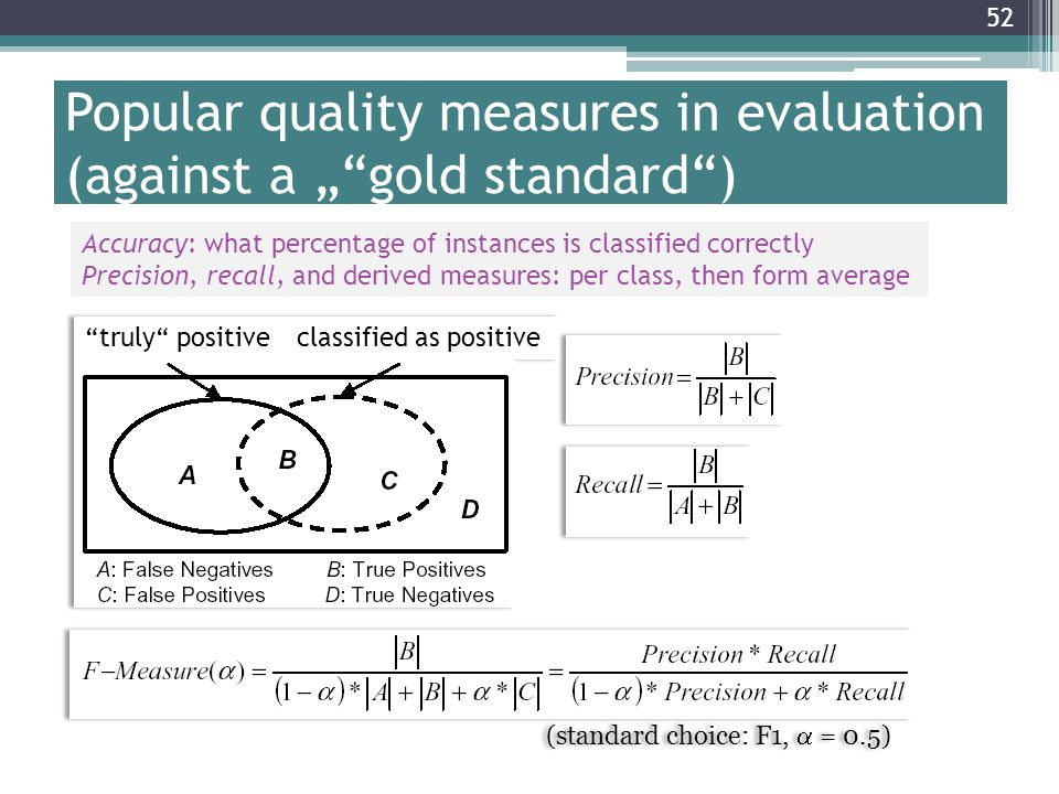 "52 Popular quality measures in evaluation (against a "" gold standard ) Accuracy: what percentage of instances is classified correctly Precision, recall, and derived measures: per class, then form average"