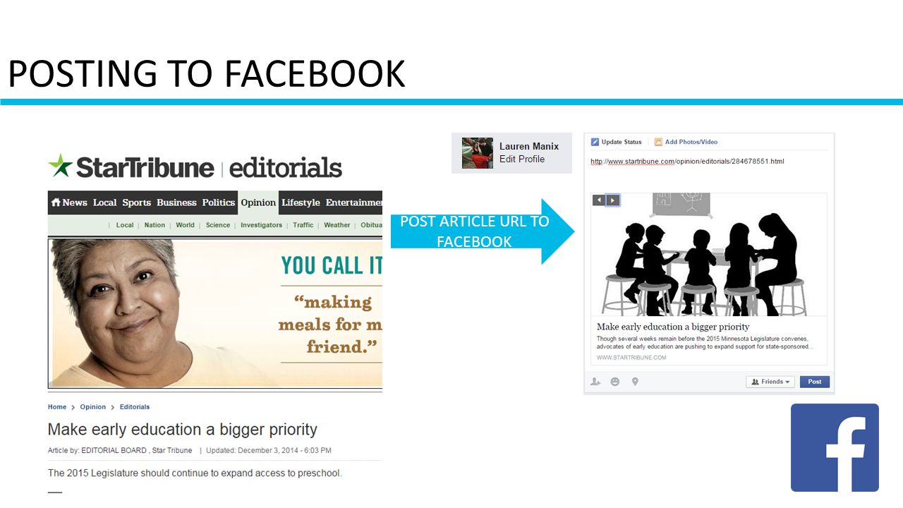 POSTING TO FACEBOOK POST ARTICLE URL TO FACEBOOK