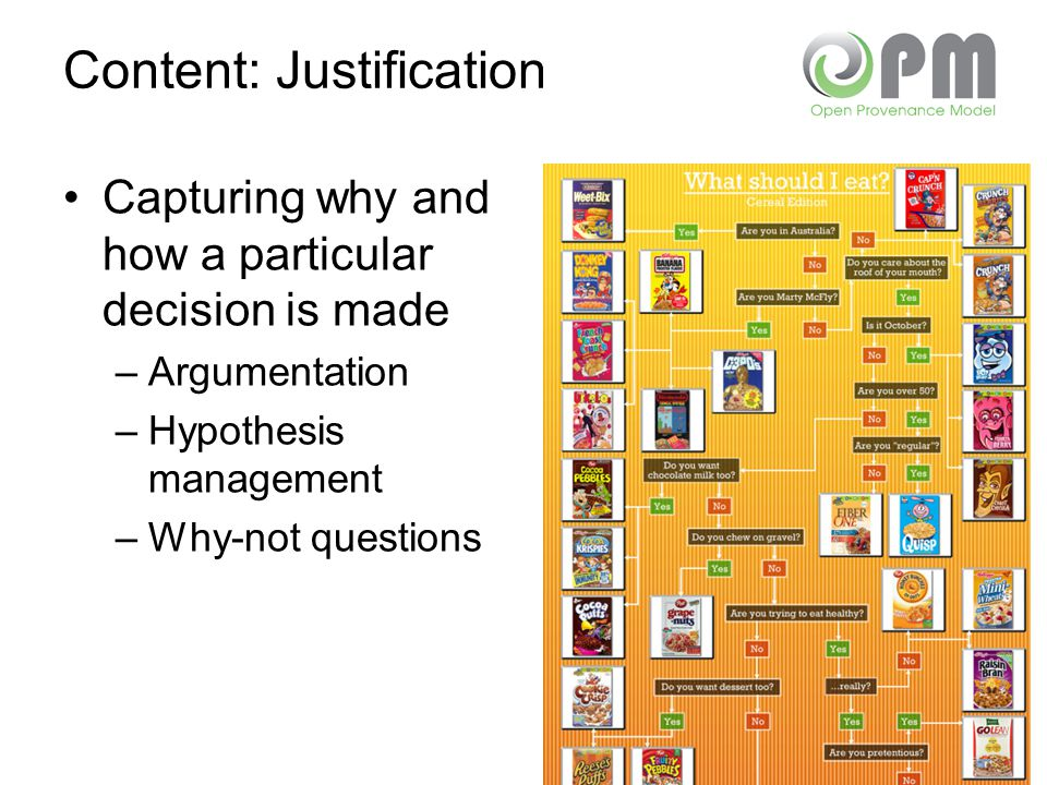 Content: Justification Capturing why and how a particular decision is made –Argumentation –Hypothesis management –Why-not questions