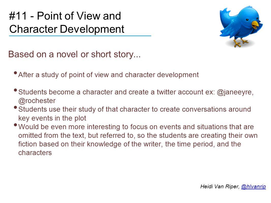 #11 - Point of View and Character Development Based on a novel or short story...
