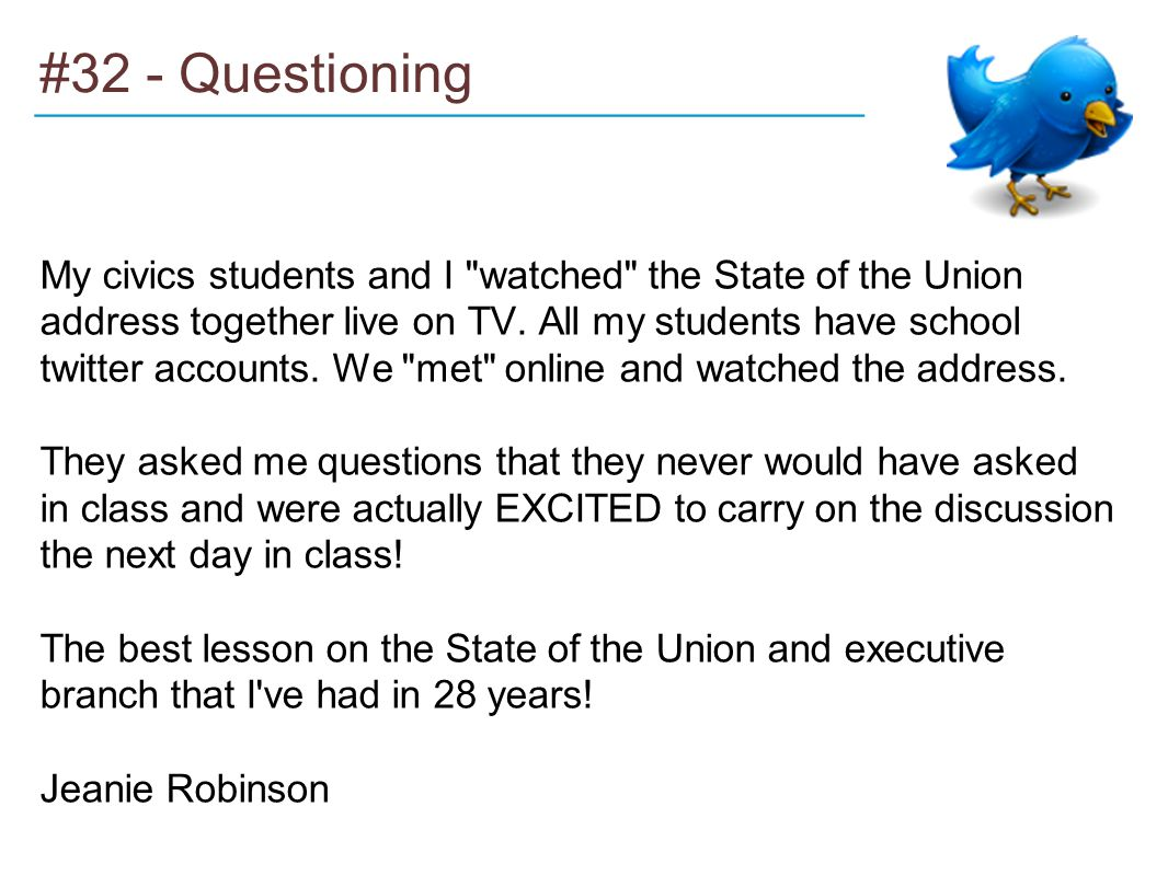 #32 - Questioning My civics students and I watched the State of the Union address together live on TV.