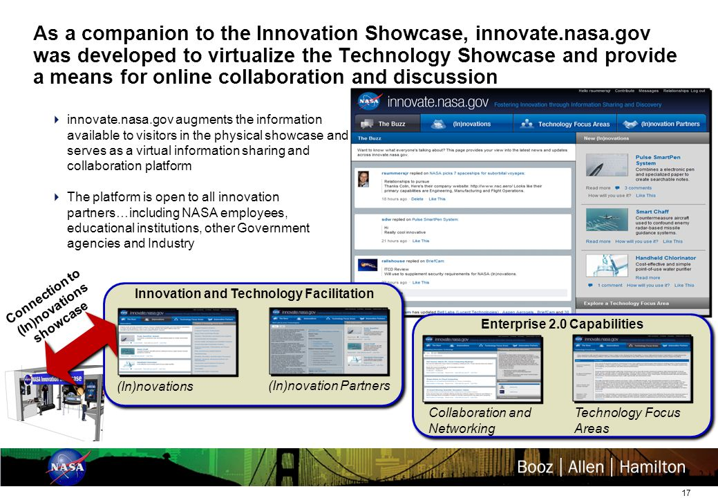 17 As a companion to the Innovation Showcase, innovate.nasa.gov was developed to virtualize the Technology Showcase and provide a means for online collaboration and discussion  innovate.nasa.gov augments the information available to visitors in the physical showcase and serves as a virtual information sharing and collaboration platform  The platform is open to all innovation partners…including NASA employees, educational institutions, other Government agencies and Industry (In)novations (In)novation Partners Innovation and Technology Facilitation Connection to (In)novations showcase Collaboration and Networking Technology Focus Areas Enterprise 2.0 Capabilities